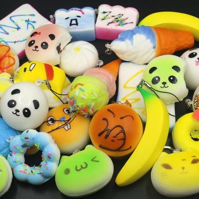 Trasfit 10 Pieces Random Squishy Charms Kawaii Soft Foods Jumbo Squishies Cake/Panda/Bread/Buns Phone Charm Key Chain Strap