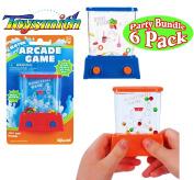 Toysmith Mini Handheld Water Arcade Games Basketball & Fish Food Party Set Bundle - 6 Pack