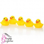 5 X Mini Yellow Bath time Squeaky Rubber Ducks