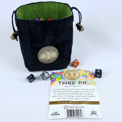 Third Die Dice Bag - Handcrafted, Reversible Drawstring Bag That Stands Open On The Table And Closes Tight - Soft Microfiber With Cool Celtic Tree Medallion - Black and Grass Green