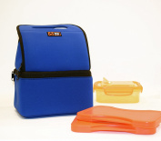 Lava Lunch HEATED Lunch Tote, Dual Compartment for Hot and Cold items, Premium Neoprene, Blue