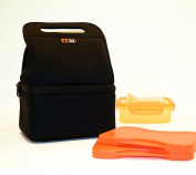 Lava Lunch HEATED Lunch Tote, Dual Compartment for Hot and Cold items, Premium Neoprene, Black