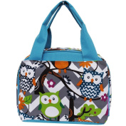 White & Grey Chevron & Owl Print Insulated Lunch Tote Bag