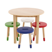 Max & Lily Natural Wood Kid and Toddler Round Table Set with 4 Coloured Stools