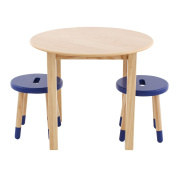 Max & Lily Natural Wood Kid and Toddler Round Table Set with 2 Blue Stools