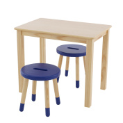 Max & Lily Natural Wood Kid and Toddler Rectangular Table Set with 2 Blue Stools