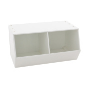 Max & Lily Natural Wood Kid and Toddler Open Storage Cubby, White