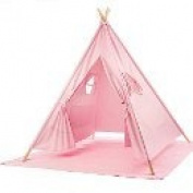 e-Joy 1.8m Indoor Indian Playhouse Toy Teepee Play Tent for Kids Toddlers Canvas Teepee With Carry Case With Mat
