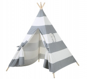 Indoor Outdoor Grey Striped Canvas Indian Kids Teepee Playhouse with Window
