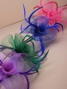 Crystal Innovation-4000 Looped net and feather with centre detail fascinator on a narrow black aliceband.
