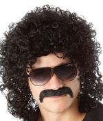 70s 80s Men's Party Fancy Dress Halloween Wig curly black mullet Rockstar Wig