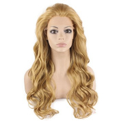 Iwona Long Wavy Celebrity Synthetic Lace Front Half Hand Tied Heat Resistant Fibre Ash Blond . Wavy Natural Wig