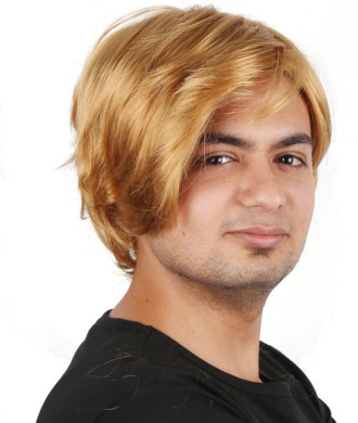 Men's HIGH QUALITY synthetic short Golden Hair Wig