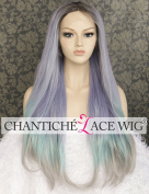 Chantiche Relastic Looking Black Roots Ombre Purple Front Lace Wigs High Quality Natural Long Straight Multi Colour Synthetic Hair wig for Ladies Heat Resistant Fibre 60cm