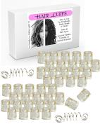 40 Silver Diamond Design Dread Lock Cuffs & 2 Free Viking Dreads Bead