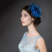 VKFashion Blue Net Hoops Feather Fascinator, Bridal Hairpiece, Feather Hair Clip, Wedding/Party/Ascot Hair Accessores