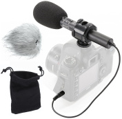 Movo VXR70 X/Y Stereo Condenser Video Microphone with -10dB Attenuation, Foam/Furry Windsceens & Case for DSLR Cameras & Camcorders
