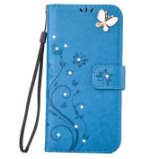Mo-Beauty® Galaxy S7 Edge Floral PU Leather Wallet Case [Free Tempered Glass Screen Protector] With Hand Wrist Strap,Floral Rose Butterfly Design Bling Diamonds Gems PU Leather Flip Wallet Case Cover For Samsung Galaxy S7 Edge