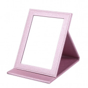 Rnow Deluxe PU Leather Desktop Large Makeup Cosmetics Personal Beauty Folding Mirrors Ice Pink