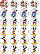 MICKEY MOUSE 24 EDIBLE WAFER - RICE PAPER CAKE TOPPERS EACH DESIGN IS 40mm IN DIAMETER by OCCASIONS CAKE ART