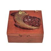 Handmade Wooden Art Intarsia TRICK SECRET SMART OWL 2 Jewellery Puzzle Trinket Box (4492)