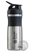 BlenderBottle SportMixer Stainless Steel Shaker Bottle, 830ml, Black/Black
