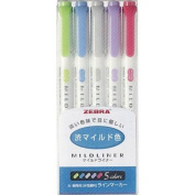 Zebra NC5 Highlighter Mildliner, 5 Colour Set