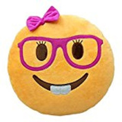 Granny's Best Deals (C) 30cm Emoji Emoticon Smiley Female with Pink Glasses and Eye Lashes Face Stuffed Baby Plush Toys Doll-New!