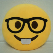 Granny's Best Deals (C) 30cm Emoji with glasses smiling buck teeth Stuffed Baby Plush Toys Doll-New!