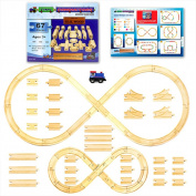 Wooden Train Track Set with Train Car by Tiny Conductors - 100% Real Wood, Compatible with Thomas and All Other Major Brands Wooden Toy Railroad Sets