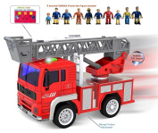 FUNERICA Mini Fire Truck with Lights and Real life Sounds - Extendable Ladder and Powerful Friction Rolling Action - Firetruck Toy for Kids/Toddlers Aged 2 & Up. BONUS