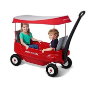 Radio Flyer Deluxe All-Terrain Pathfinder Waggon with Canopy All-terrain air tyres for a smooth ride
