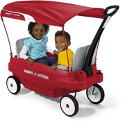 Radio Flyer Deluxe Family Canopy Waggon 22cm Dura-Tred tyres for a quiet ride