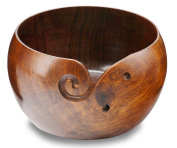 Hagestad Yarn Bowl Wooden-Large-18cm x 10cm . Handmade from Sheesham- Heavy & Sturdy to Prevent Slipping. Perfect Yarn Holder for Knitting & Crocheting. Free Travel Pouch Included