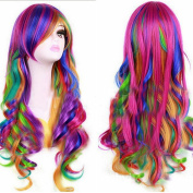 Women's Fashion Long Wave Rainbow Multicoloured Curls Cosplay Wigs