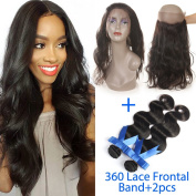 GEFINE Hair Brazilian Virgin Human hair Bundles 2pcs + 360 Lace Band Frontal Closure Body Wave with Natural Hairline & Adjustable Strap
