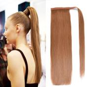 46cm Straight Wrap Around Ponytail Human Hair extensions for Women 100gram Medium Brown 6#