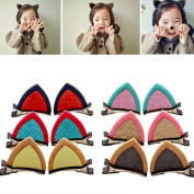 12Pcs Cute Cat Ears Hair Clips for Baby Kids Toddler Girls Adorable Hair Accessories