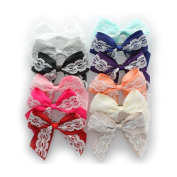 My Lello Medium 10cm Girls Hair-Bow Barrette Satin & Lace Mixed Variety Pack - 12 Bows