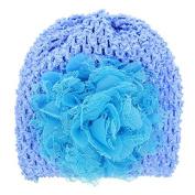 PETMALL 1pc Blue Newborn Baby Girls Cute Kid Toddler Infant Winter Warm Big Flower Crystal Crochet Knitted Hat Cap Beanie Headwear for 3-12M E059