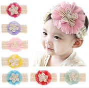PETMALL 7pcs Cute Hair Accessories Baby Headband for Girl Elastic Hair Bands Hollow Flower Baby Girl Headwrap Infant Headbands E040