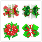 PETMALL 4PCS Christmas Ornaments Bowknot Hairpin Hair Clips Baby Girl Ribbon Bow Barrettes Hair Accessories E058