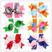 PETMALL 6pcs Bowknot Hairpin Hair Clips Baby Girl Ribbon Bow Barrettes Hair Accessories E057