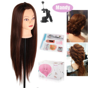 Beautystar 70cm Long Hair Yaki Synthetic Cosmetology Mannequin Manikin Training Head Model with Clamp and Gifts