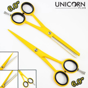100 % Brand New ! Eye Catching Professional Barber Salon Yellow Finish Hair Cutting Scissors, . Supercut Thinning Hair Scissors/Shears Come in a PVC Pouch By Unicorn Plus