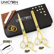 Unicorn Plus Golden Hairdressing Set - Super Sharp Razor Edge Series - 2.5cm x 17cm Barber Salon Hair Cutting Shears - 2.5cm x 17cm J2 Hair Thinning For Perfect Cutting + Thinning Scissors + Get Free Razor