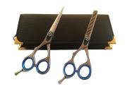 Left Handed Professional Hairdressing Lefty Barber Salon Scissors Cutting Plain Thinner Shears Blue Ringed Set 14cm Japanese Steel + Black Case