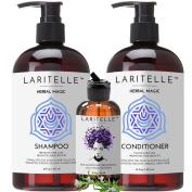 Laritelle Organic Hair Loss Prevention Shampoo 470ml + Conditioner 470ml + Bonus Post-shampoo Treatment 60ml   Unscented & Hypoallergenic   NO GMO, Sulphates, Gluten, Alcohol, Parabens, Phthalates