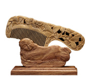 ICEGREY Sandalwood Comb Hair Brush Rake Comb Handmade Carved Butterfly Flower
