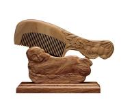 ICEGREY Handmade Lotus Engraving Black Sandalwood Hair Comb Beard Brush Rake Comb